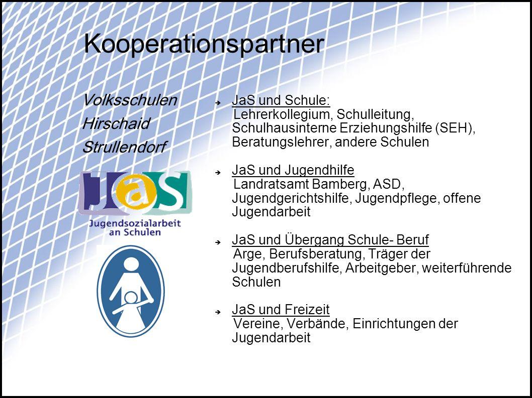Kooperationspartner JaS und Schule: Lehrerkollegium, Schulleitung, Schulhausinterne Erziehungshilfe (SEH), Beratungslehrer, andere Schulen JaS und Jug