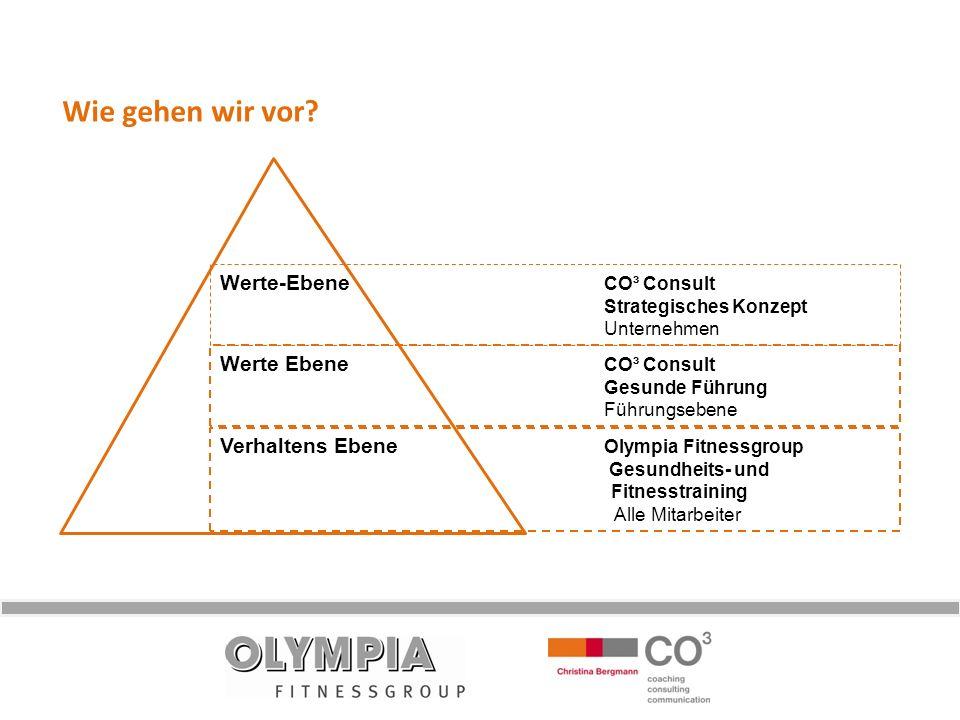 Wie gehen wir vor? Werte-Ebene CO³ Consult Strategisches Konzept Unternehmen Werte Ebene CO³ Consult Gesunde Führung Führungsebene Verhaltens Ebene Ol