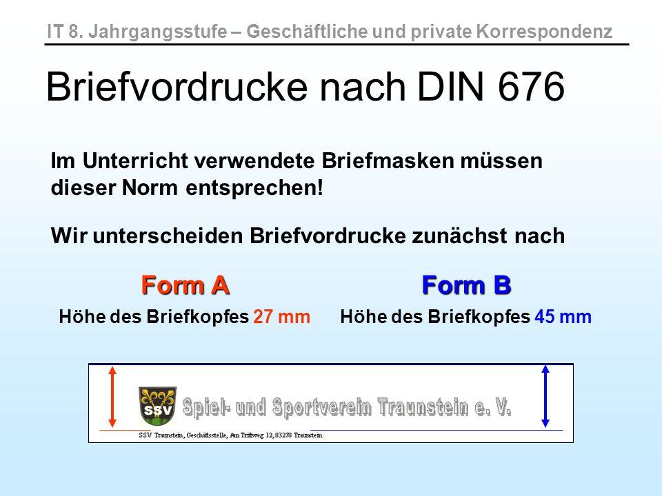Informations- block Kommunikationszeile oder einer Bezugszeichenzeile und einer Weitere Unterscheidung durch: IT 8.