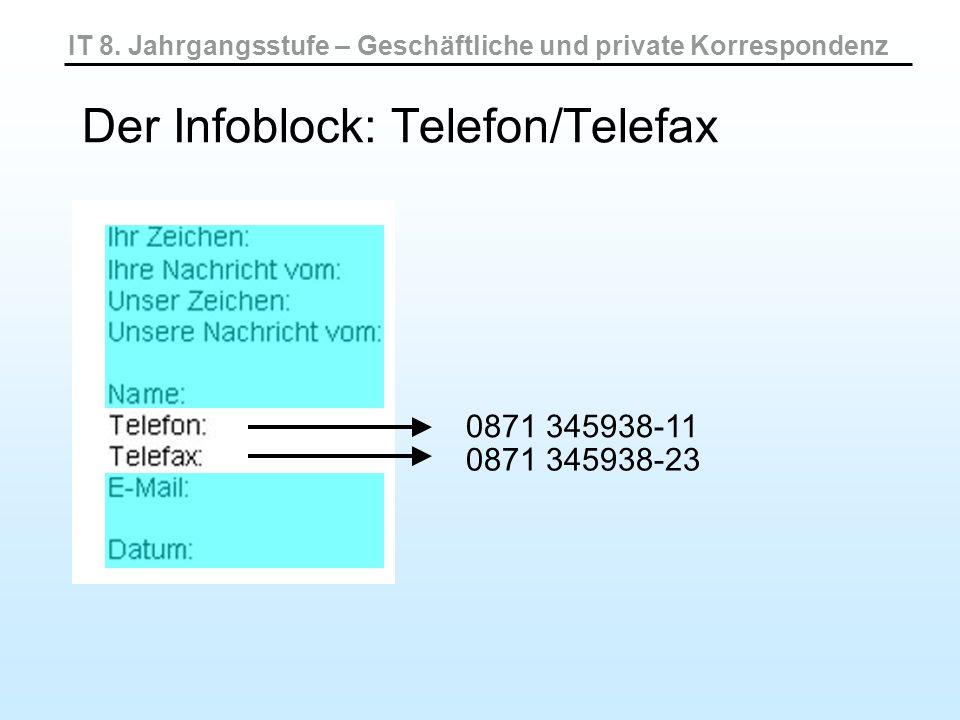 IT 8. Jahrgangsstufe – Geschäftliche und private Korrespondenz Der Infoblock: Telefon/Telefax 0871 345938-11 0871 345938-23