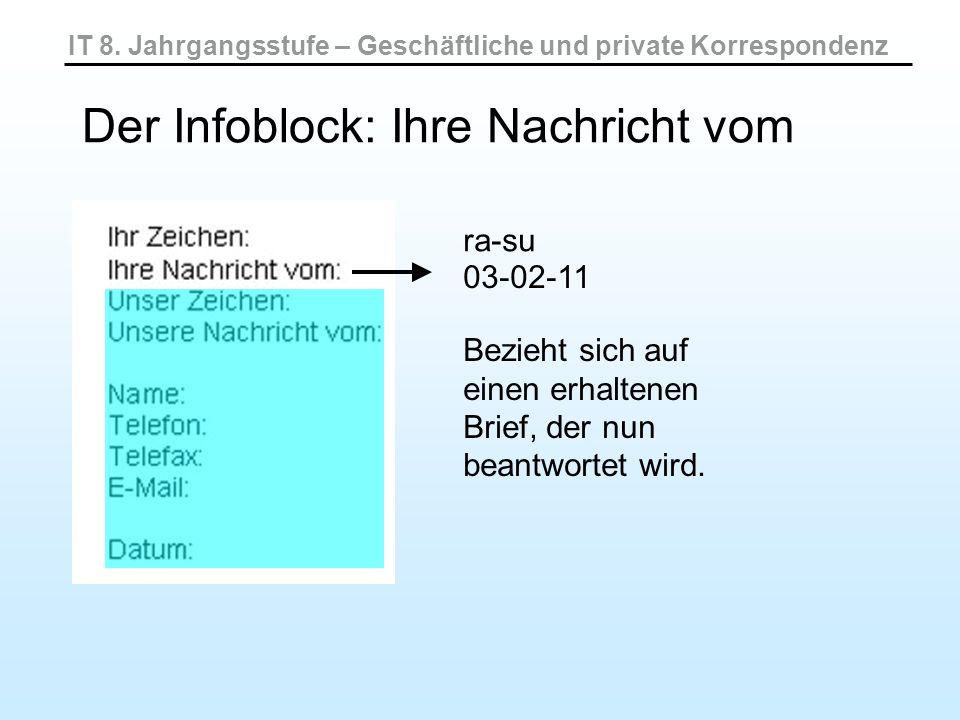 IT 8. Jahrgangsstufe – Geschäftliche und private Korrespondenz Der Infoblock: Ihre Nachricht vom 03-02-11 Bezieht sich auf einen erhaltenen Brief, der