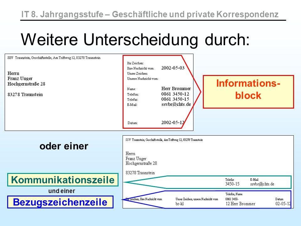 Informations- block Kommunikationszeile oder einer Bezugszeichenzeile und einer Weitere Unterscheidung durch: IT 8. Jahrgangsstufe – Geschäftliche und