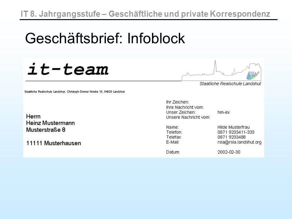 IT 8. Jahrgangsstufe – Geschäftliche und private Korrespondenz Geschäftsbrief: Infoblock