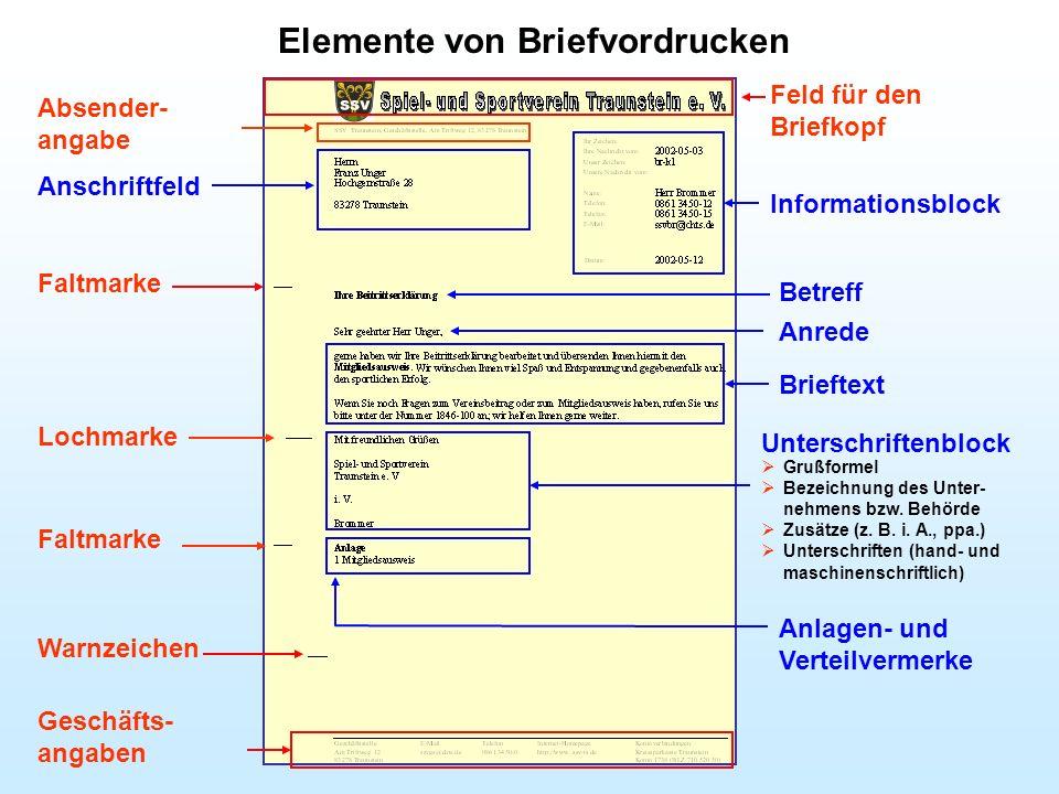 Elemente von Briefvordrucken Feld für den Briefkopf Absender- angabe Informationsblock Betreff Anrede Unterschriftenblock Brieftext Geschäfts- angaben