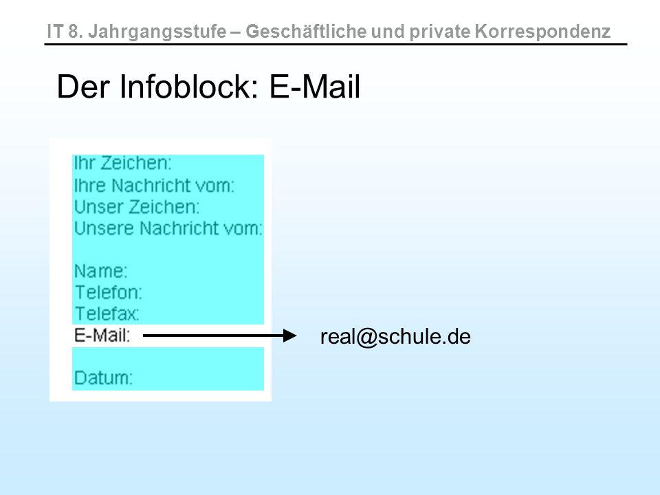 IT 8. Jahrgangsstufe – Geschäftliche und private Korrespondenz Der Infoblock: E-Mail real@schule.de