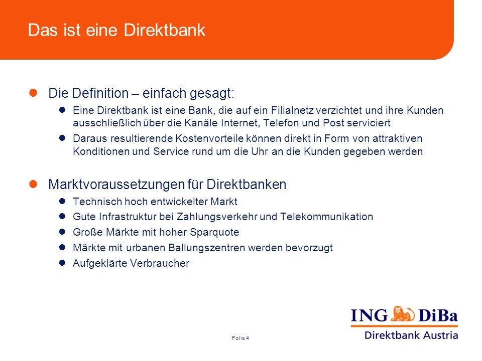 Folie 4 Das ist eine Direktbank Die Definition – einfach gesagt: Eine Direktbank ist eine Bank, die auf ein Filialnetz verzichtet und ihre Kunden auss