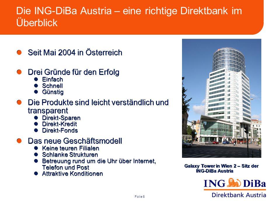 Folie 6 Die ING-DiBa Austria – eine richtige Direktbank im Überblick Seit Mai 2004 in Österreich Drei Gründe für den Erfolg Einfach Schnell Günstig Di
