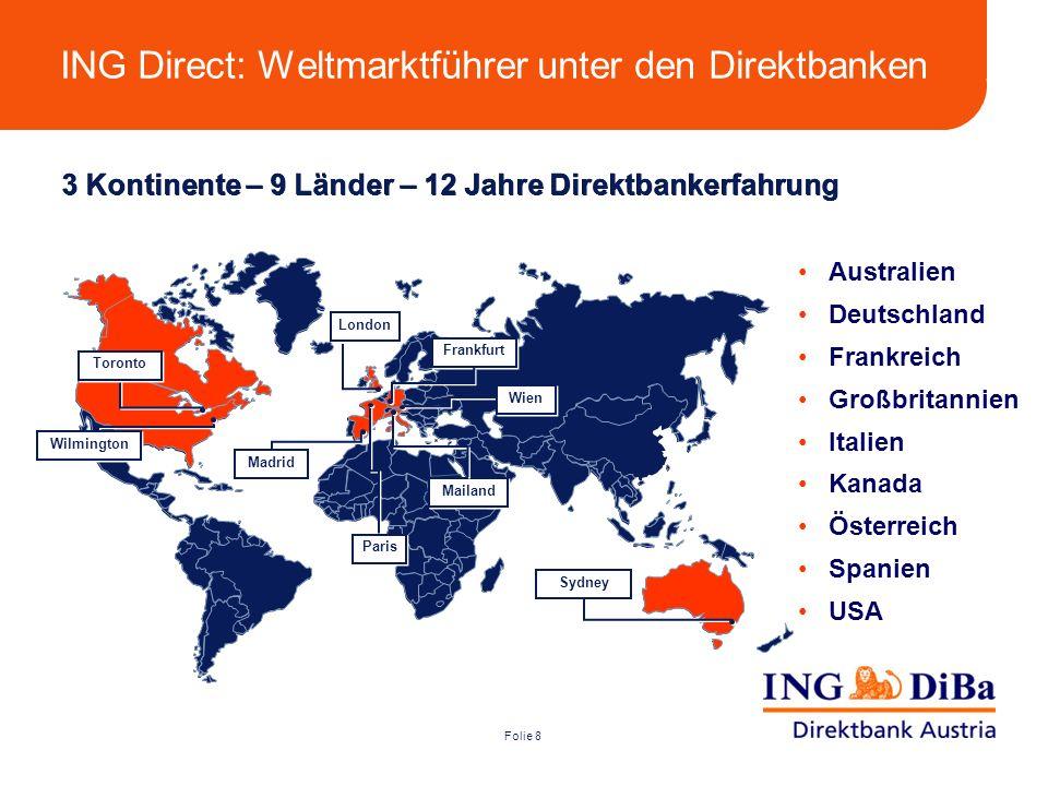 Folie 8 3 Kontinente – 9 Länder – 12 Jahre Direktbankerfahrung Australien Deutschland Frankreich Großbritannien Italien Kanada Österreich Spanien USA