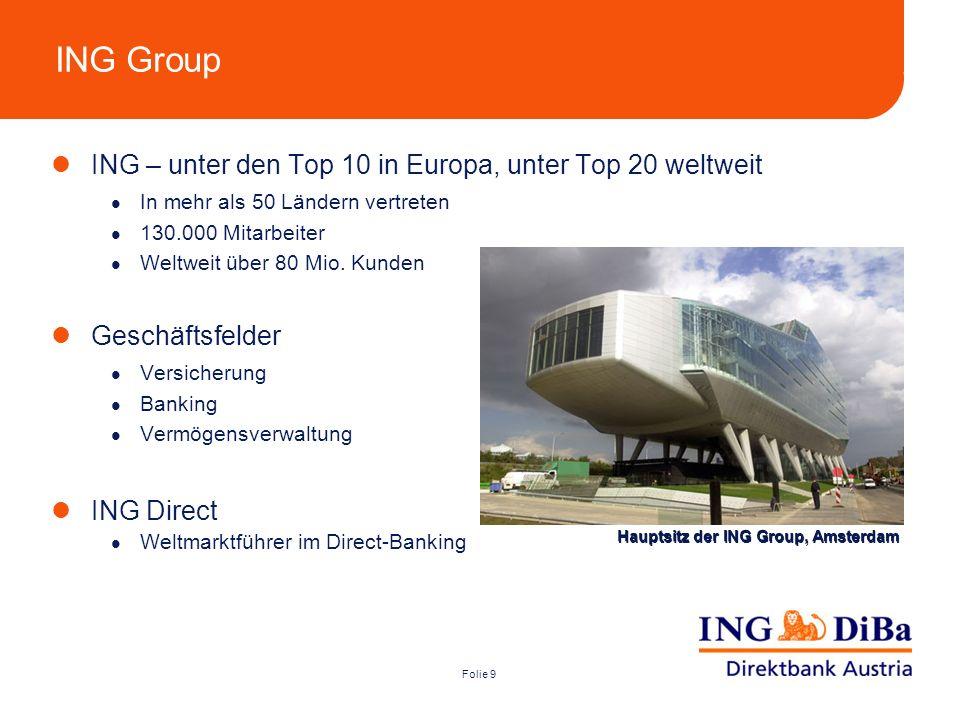 Folie 9 ING Group ING – unter den Top 10 in Europa, unter Top 20 weltweit In mehr als 50 Ländern vertreten 130.000 Mitarbeiter Weltweit über 80 Mio. K