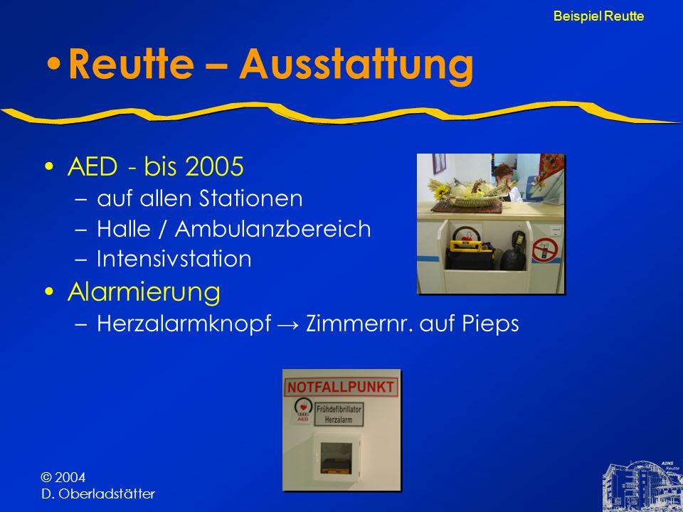 © 2004 D. Oberladstätter Reutte – Ausstattung AED - bis 2005 –auf allen Stationen –Halle / Ambulanzbereich –Intensivstation Alarmierung –Herzalarmknop