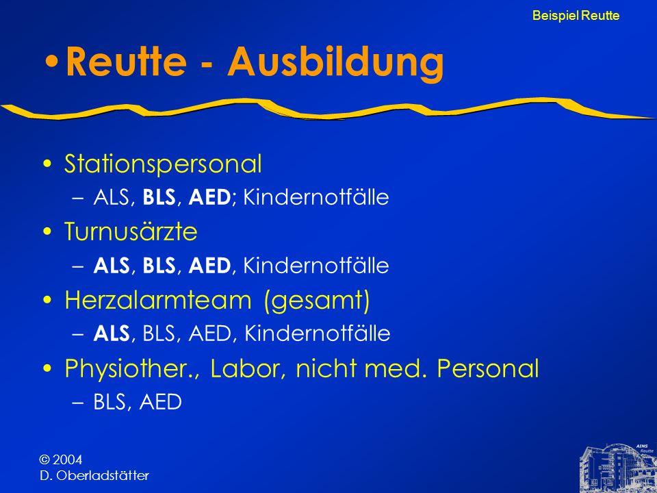© 2004 D. Oberladstätter Reutte - Ausbildung Stationspersonal –ALS, BLS, AED ; Kindernotfälle Turnusärzte – ALS, BLS, AED, Kindernotfälle Herzalarmtea