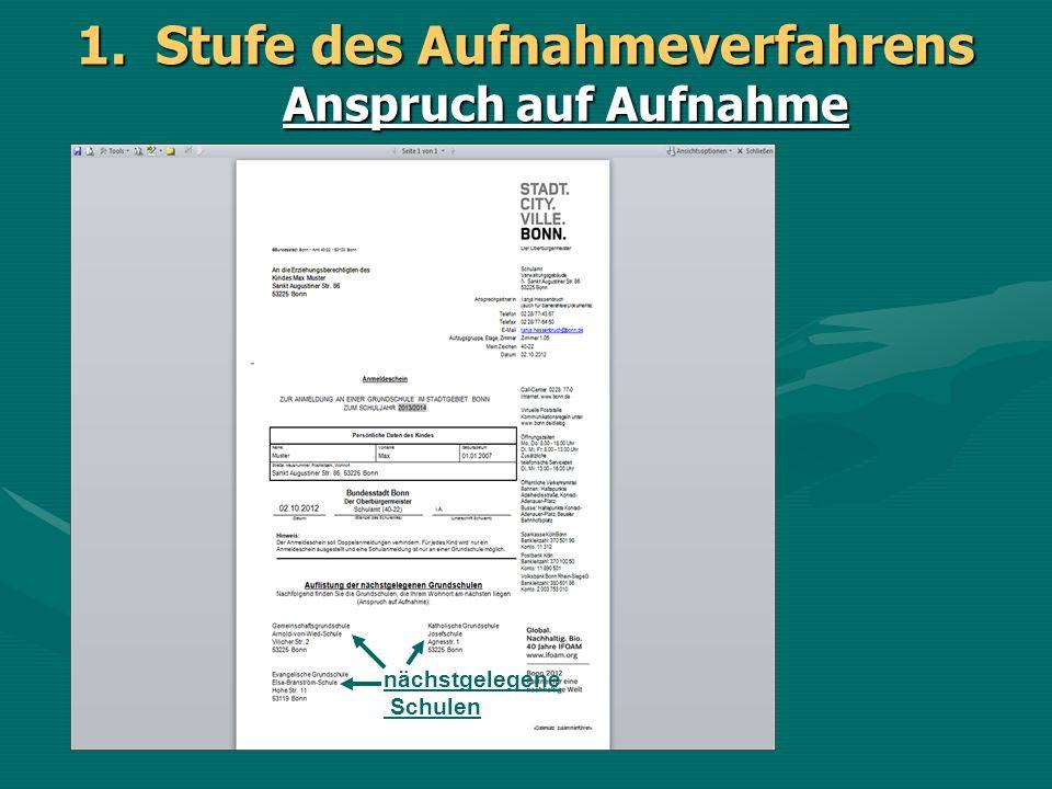 1.Stufe des Aufnahmeverfahrens Anspruch auf Aufnahme Eine Zusage ist erst ab 01.03.2014 möglich.
