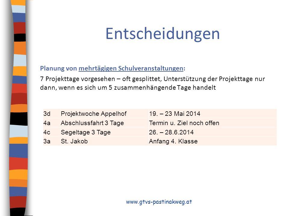 Entscheidungen Planung von mehrtägigen Schulveranstaltungen: 7 Projekttage vorgesehen – oft gesplittet, Unterstützung der Projekttage nur dann, wenn es sich um 5 zusammenhängende Tage handelt www.gtvs-pastinakweg.at 3dProjektwoche Appelhof19.