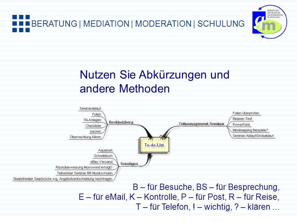 BERATUNG | MEDIATION | MODERATION | SCHULUNG Tagesplanung mit der ALPEN-Methode: Aufgaben, Aktivitäten und Termine Länge schätzen Pufferzeit reservier