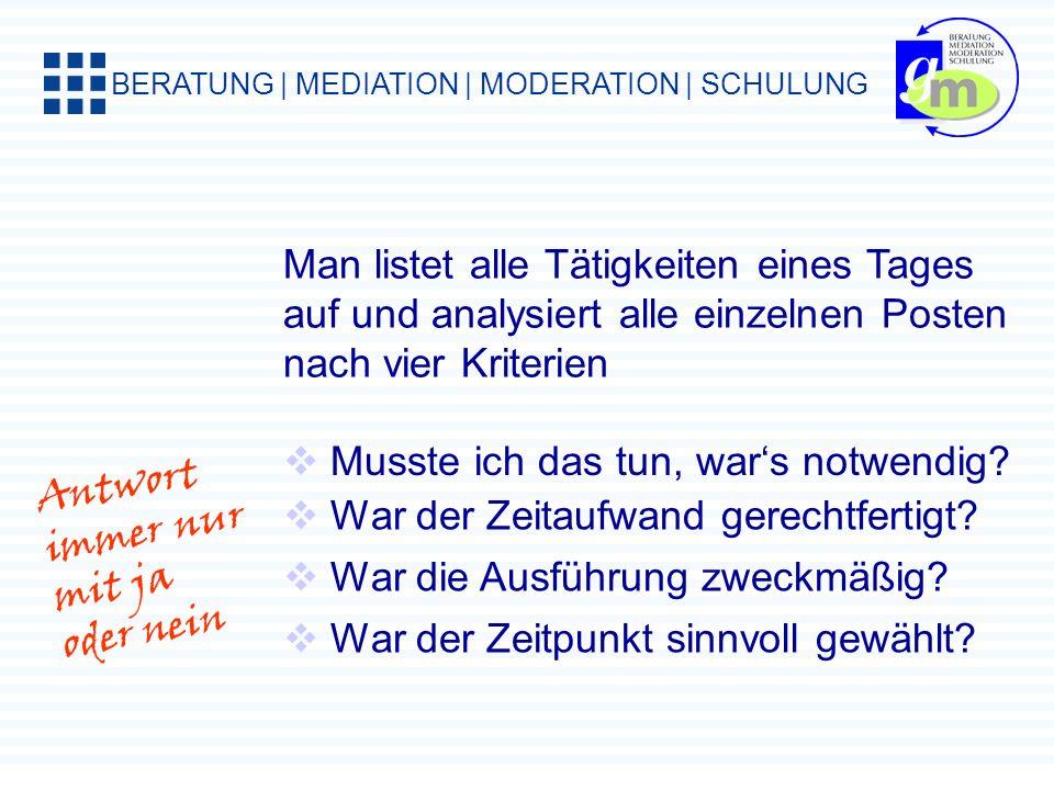 BERATUNG | MEDIATION | MODERATION | SCHULUNG Man listet alle Tätigkeiten eines Tages auf und analysiert alle einzelnen Posten nach vier Kriterien Musste ich das tun, wars notwendig.