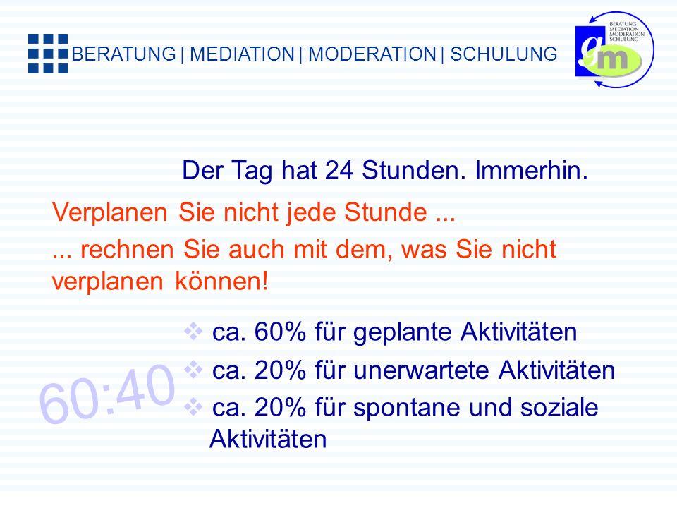 BERATUNG | MEDIATION | MODERATION | SCHULUNG Machen Sie sich eine Tabelle: ZeitdiebUrsachen, GründeMaßnahmen