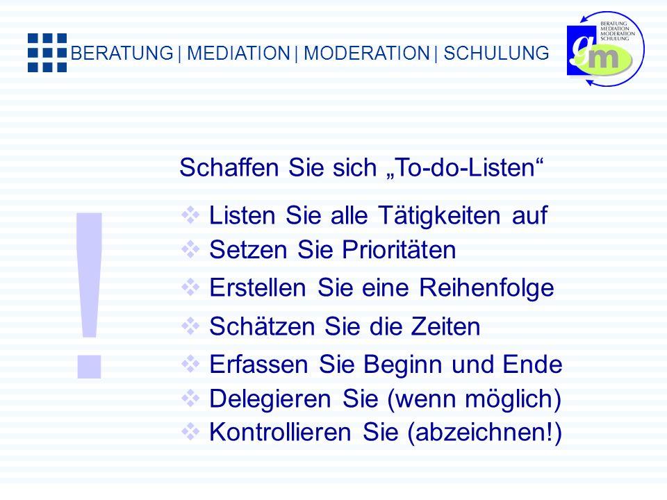 BERATUNG | MEDIATION | MODERATION | SCHULUNG Der Tag hat 24 Stunden. Immerhin. ca. 60% für geplante Aktivitäten ca. 20% für unerwartete Aktivitäten ca