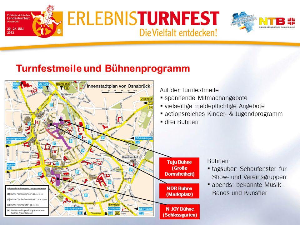 Turnfestmeile und Bühnenprogramm N-JOY Bühne (Schlossgarten) NDR Bühne (Marktplatz) Tuju Bühne (Große Domsfreiheit) Auf der Turnfestmeile: spannende M