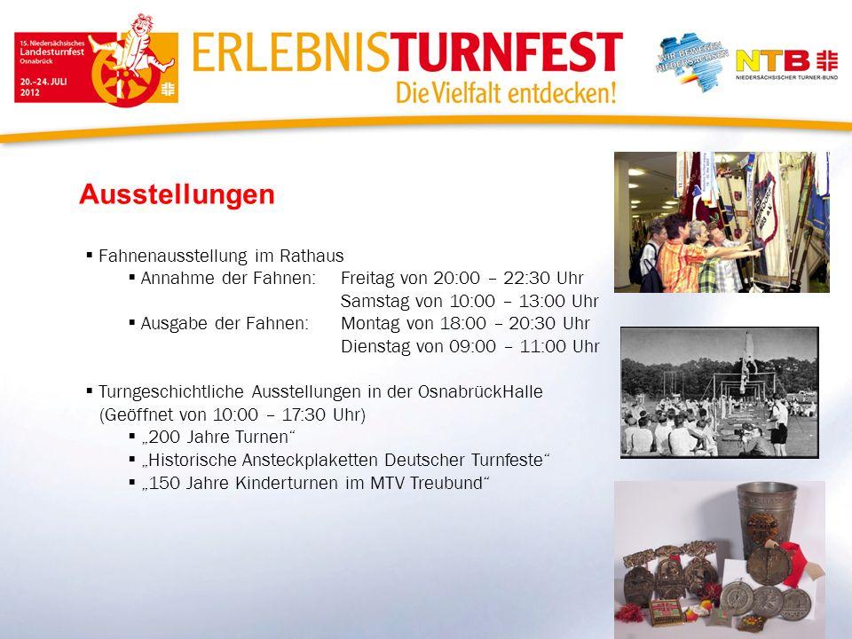 Ausstellungen Fahnenausstellung im Rathaus Annahme der Fahnen: Freitag von 20:00 – 22:30 Uhr Samstag von 10:00 – 13:00 Uhr Ausgabe der Fahnen:Montag v