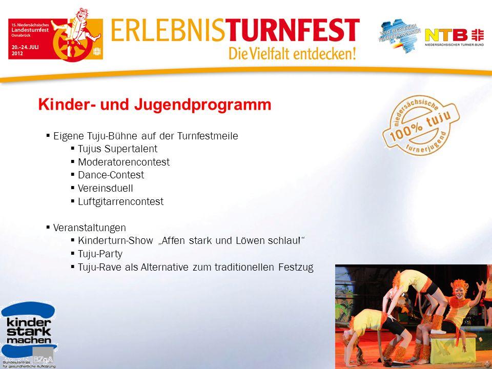 Kinder- und Jugendprogramm Eigene Tuju-Bühne auf der Turnfestmeile Tujus Supertalent Moderatorencontest Dance-Contest Vereinsduell Luftgitarrencontest