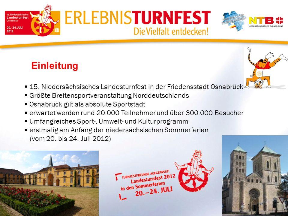 Einleitung 15. Niedersächsisches Landesturnfest in der Friedensstadt Osnabrück Größte Breitensportveranstaltung Norddeutschlands Osnabrück gilt als ab