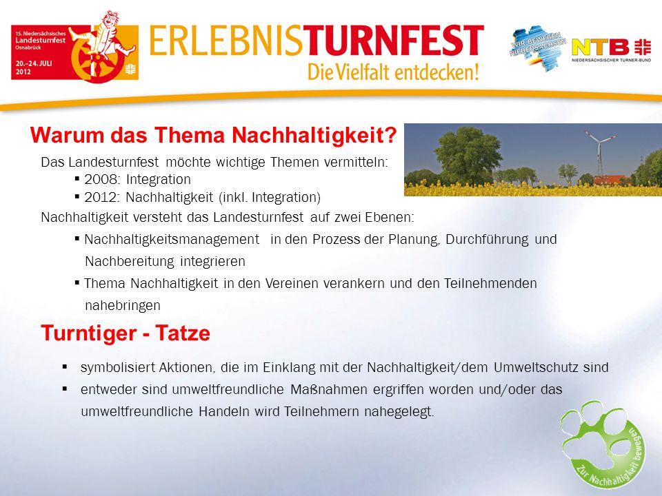 Warum das Thema Nachhaltigkeit? Das Landesturnfest möchte wichtige Themen vermitteln: 2008: Integration 2012: Nachhaltigkeit (inkl. Integration) Nachh