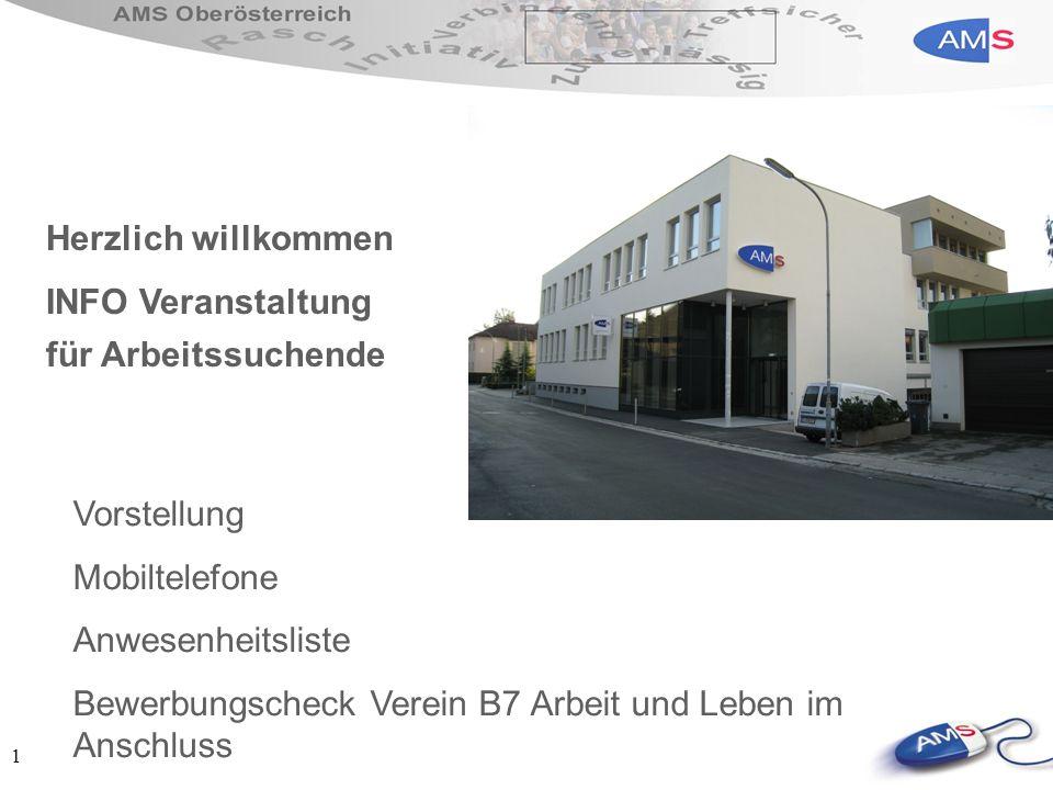 1 Herzlich willkommen INFO Veranstaltung für Arbeitssuchende Vorstellung Mobiltelefone Anwesenheitsliste Bewerbungscheck Verein B7 Arbeit und Leben im