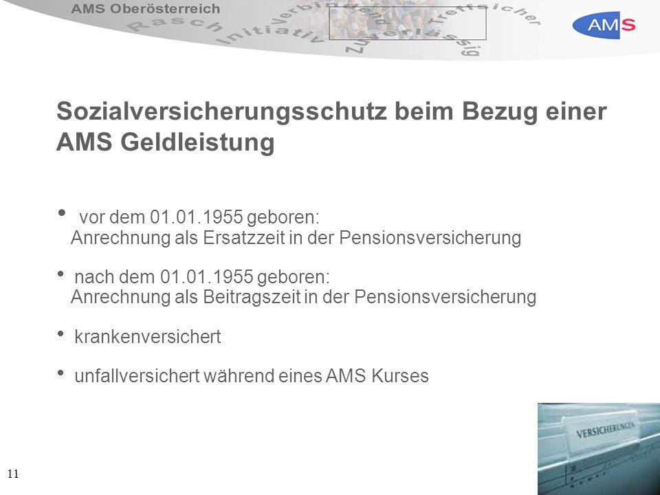 11 Sozialversicherungsschutz beim Bezug einer AMS Geldleistung vor dem 01.01.1955 geboren: Anrechnung als Ersatzzeit in der Pensionsversicherung nach