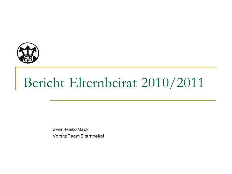 Bericht Elternbeirat 2010/2011 Sven-Heiko Mack Vorsitz Team Elternbeirat