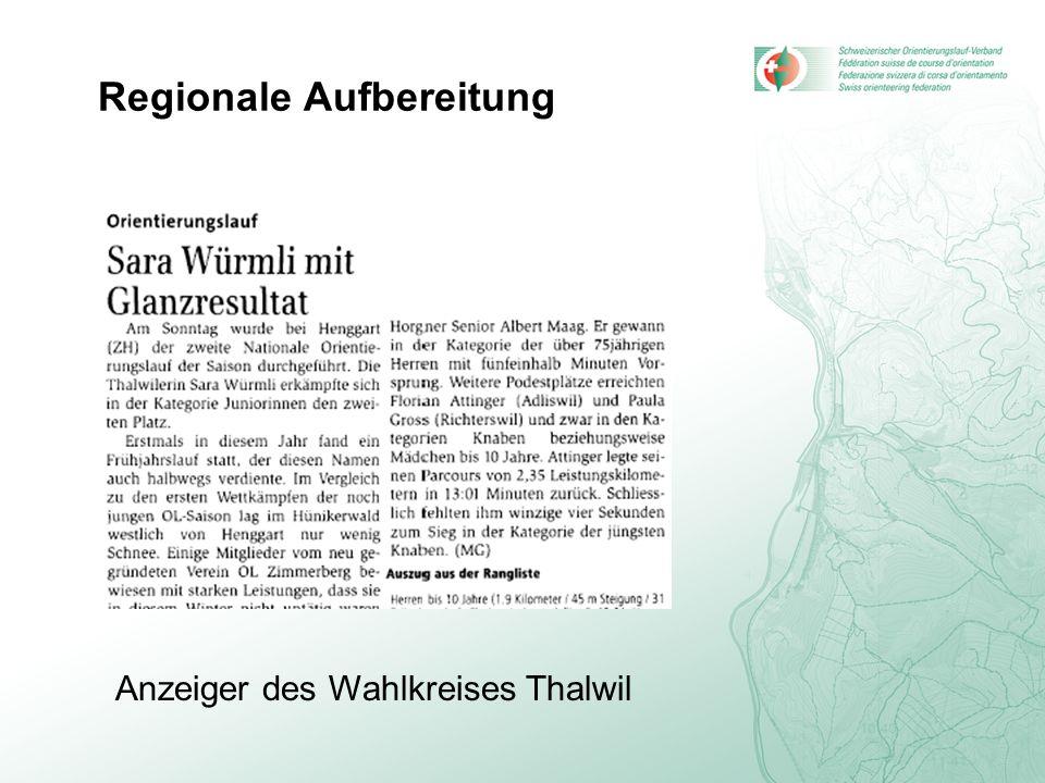 Regionale Aufbereitung Anzeiger des Wahlkreises Thalwil