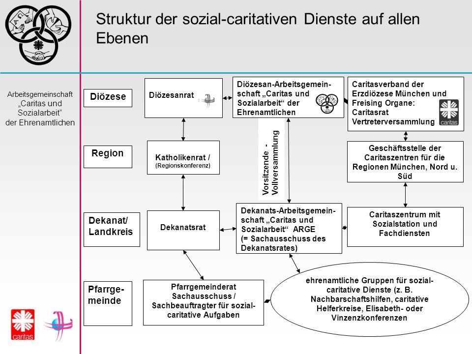 Arbeitsgemeinschaft Caritas und Sozialarbeit der Ehrenamtlichen Struktur der sozial-caritativen Dienste auf allen Ebenen Diözesanrat Diözesan-Arbeitsg