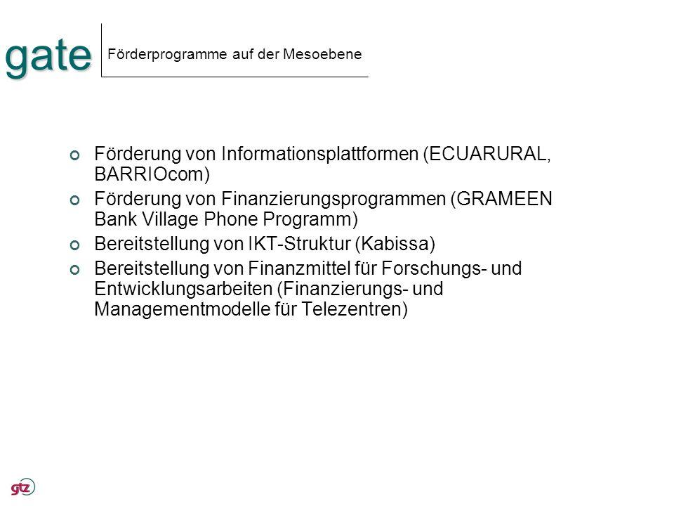 gate Förderprogramme auf der Mesoebene Förderung von Informationsplattformen (ECUARURAL, BARRIOcom) Förderung von Finanzierungsprogrammen (GRAMEEN Ban
