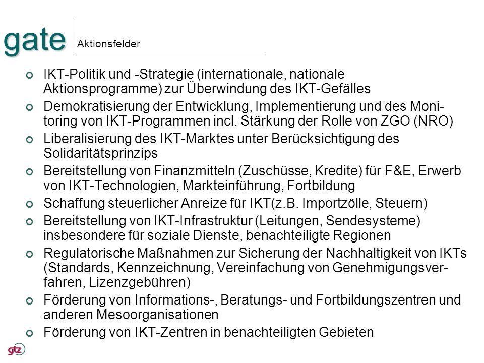 gate Aktionsfelder IKT-Politik und -Strategie (internationale, nationale Aktionsprogramme) zur Überwindung des IKT-Gefälles Demokratisierung der Entwi
