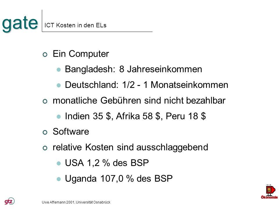 gate ICT Kosten in den ELs Ein Computer Bangladesh: 8 Jahreseinkommen Deutschland: 1/2 - 1 Monatseinkommen monatliche Gebühren sind nicht bezahlbar In