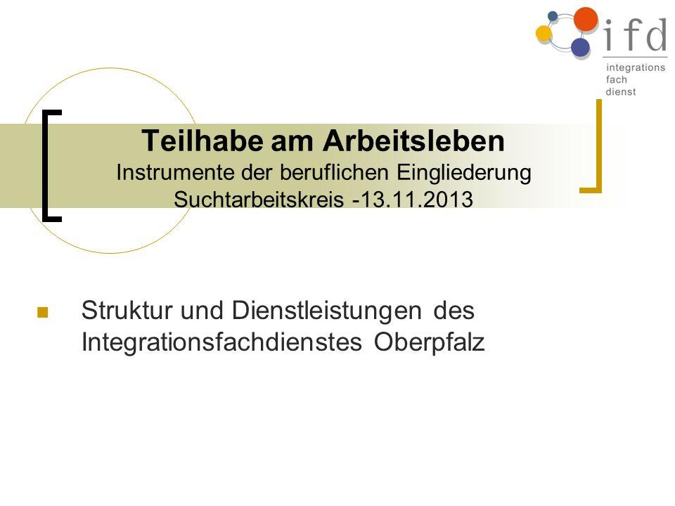 Teilhabe am Arbeitsleben Instrumente der beruflichen Eingliederung Suchtarbeitskreis -13.11.2013 Struktur und Dienstleistungen des Integrationsfachdie