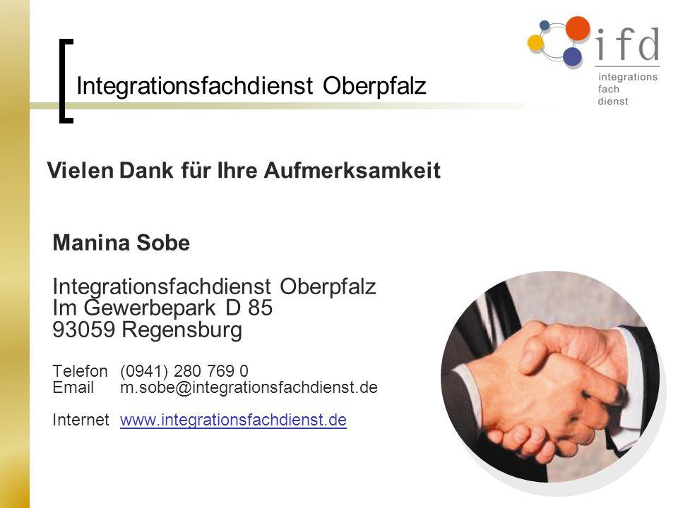 Integrationsfachdienst Oberpfalz Manina Sobe Integrationsfachdienst Oberpfalz Im Gewerbepark D 85 93059 Regensburg Telefon (0941) 280 769 0 Email m.so