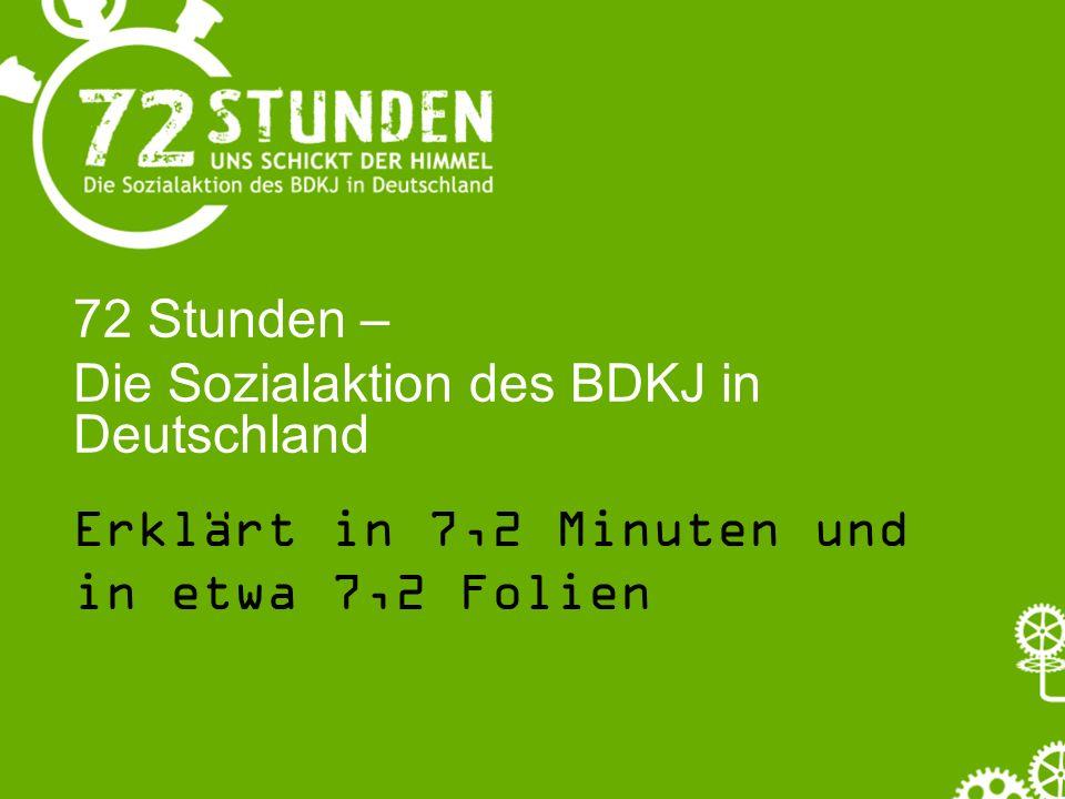 72 Stunden – Die Sozialaktion des BDKJ in Deutschland Erklärt in 7,2 Minuten und in etwa 7,2 Folien