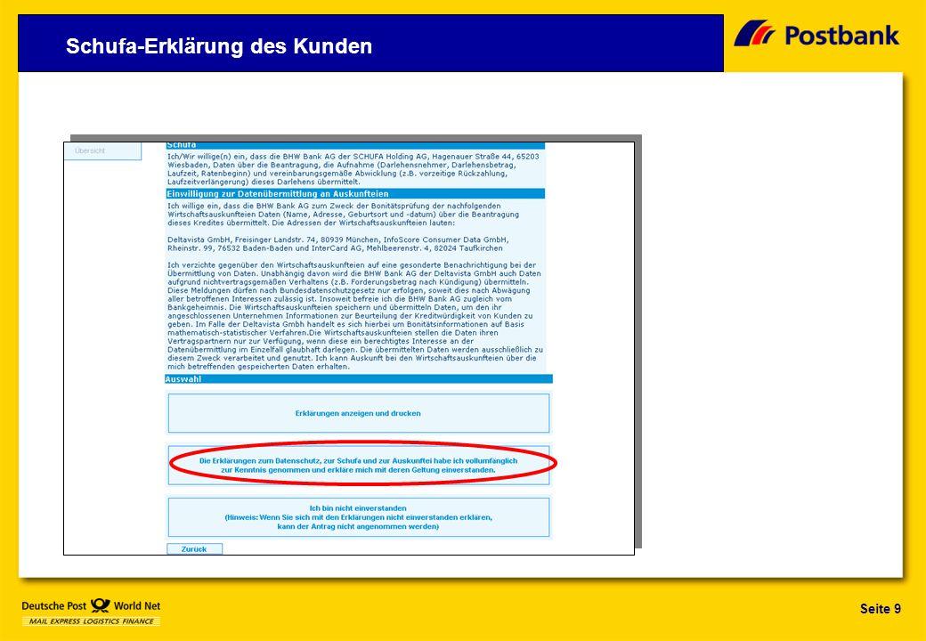 Seite 9 Schufa-Erklärung des Kunden