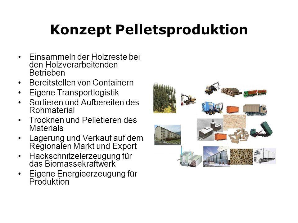 Konzept Pelletsproduktion Einsammeln der Holzreste bei den Holzverarbeitenden Betrieben Bereitstellen von Containern Eigene Transportlogistik Sortiere