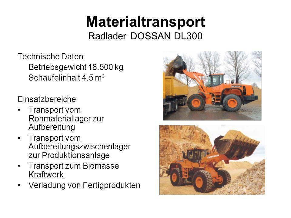 Materialtransport Radlader DOSSAN DL300 Technische Daten Betriebsgewicht 18.500 kg Schaufelinhalt 4.5 m³ Einsatzbereiche Transport vom Rohmateriallage
