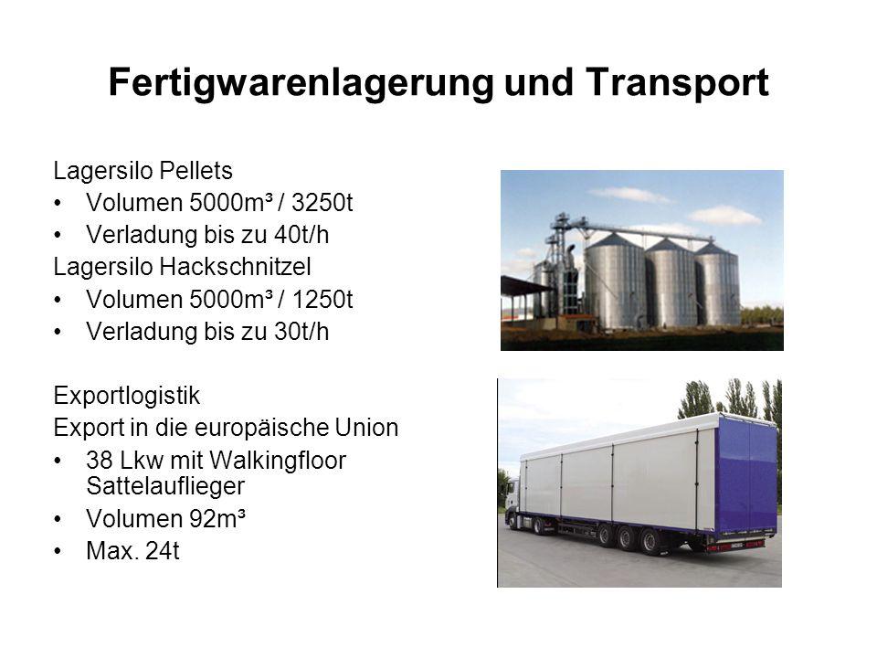 Fertigwarenlagerung und Transport Lagersilo Pellets Volumen 5000m³ / 3250t Verladung bis zu 40t/h Lagersilo Hackschnitzel Volumen 5000m³ / 1250t Verla