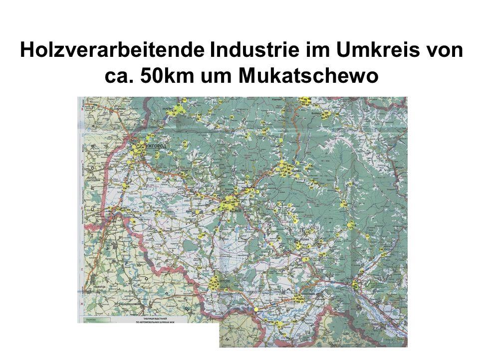Holzverarbeitende Industrie im Umkreis von ca. 50km um Mukatschewo
