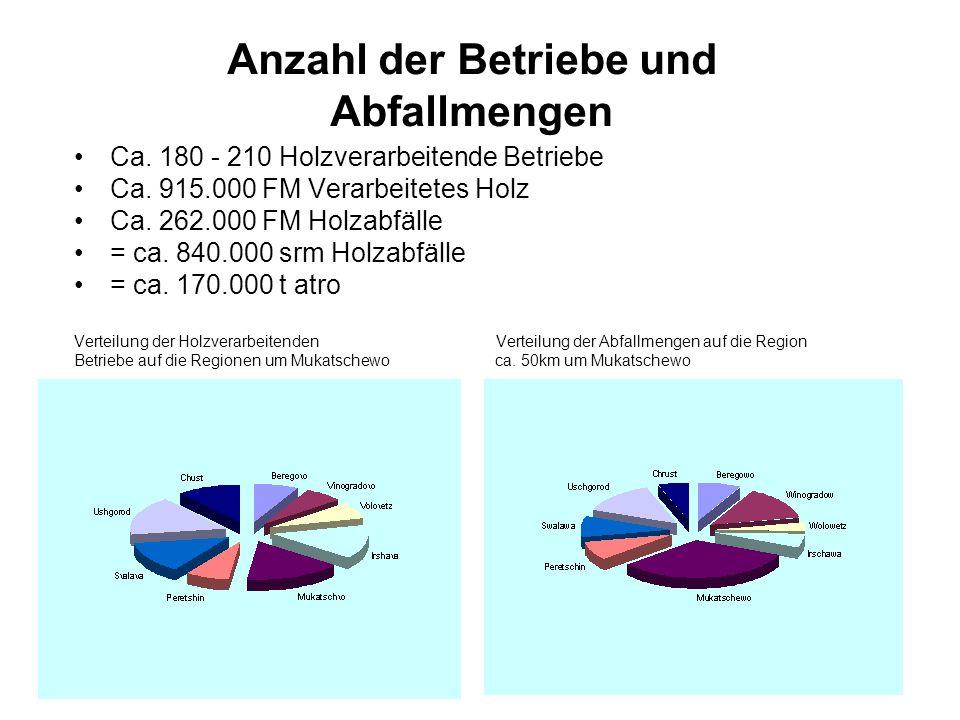 Anzahl der Betriebe und Abfallmengen Ca. 180 - 210 Holzverarbeitende Betriebe Ca. 915.000 FM Verarbeitetes Holz Ca. 262.000 FM Holzabfälle = ca. 840.0