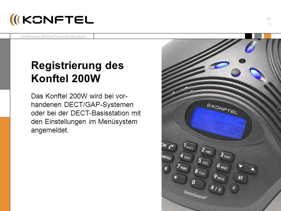 Conference phones for every situation 01 1 Das Konftel 200W wird bei vor- handenen DECT/GAP-Systemen oder bei der DECT-Basisstation mit den Einstellun