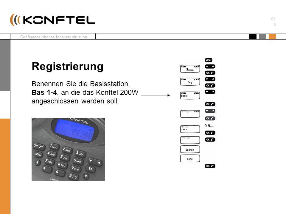 Conference phones for every situation 01 5 Benennen Sie die Basisstation, Bas 1-4, an die das Konftel 200W angeschlossen werden soll. Registrierung