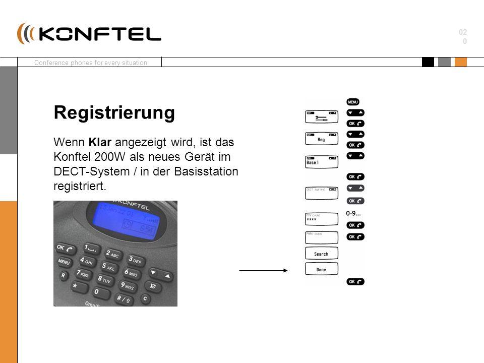 Conference phones for every situation 02 0 Wenn Klar angezeigt wird, ist das Konftel 200W als neues Gerät im DECT-System / in der Basisstation registr