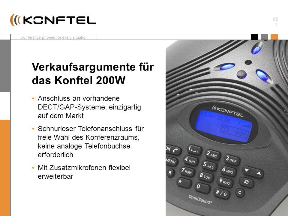 Conference phones for every situation 02 1 Anschluss an vorhandene DECT/GAP-Systeme, einzigartig auf dem Markt Schnurloser Telefonanschluss für freie