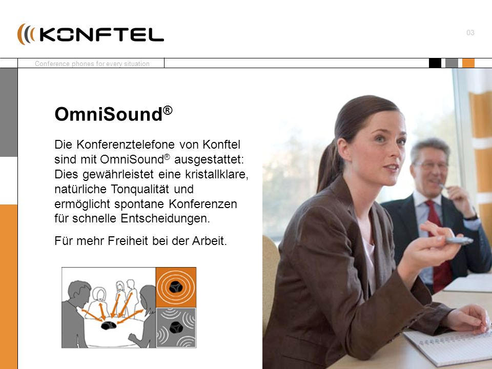 Conference phones for every situation 03 Die Konferenztelefone von Konftel sind mit OmniSound ® ausgestattet: Dies gewährleistet eine kristallklare, n
