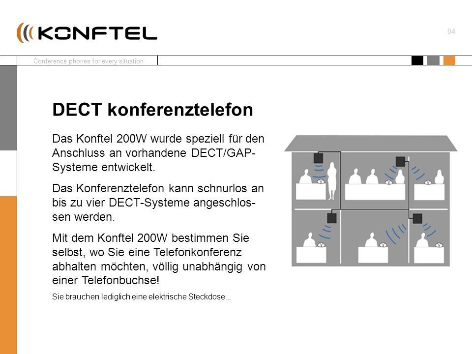 Conference phones for every situation 04 Das Konftel 200W wurde speziell für den Anschluss an vorhandene DECT/GAP- Systeme entwickelt. Das Konferenzte