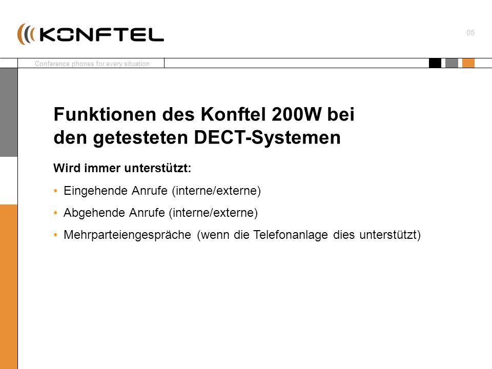 Conference phones for every situation 01 6 Wählen Sie den Typ des DECT- Systems, an das das Konftel 200W angeschlossen werden soll.
